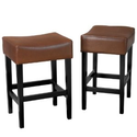 Amazon.com - Duff Backless Hazelnut Leather Counter Stools (Set of 2)