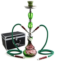 "NeverXhale 22"" 2 Hose Hookah Shisha Complete Set with Optional Carrying Case - Smoke Swirl Glass Vase - Choose Your Haze"