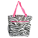 Zebra Print Beach Bag w/ Hot Pink Trim