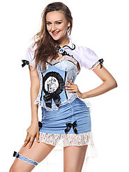 Halloween Costume Alice In Wonderland Blue Sheath Dresses Outfit - Milanoo.com