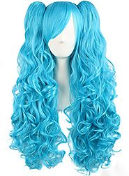 "MapofBeauty 28""/70cm Lolita Long Curly Ponytails Wig (Blue)"