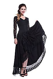 NSPSTT Womens Pinnacle Black Gothic Vintage Long Sleeves Dress