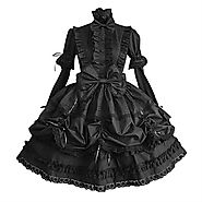 Gothic Lolita Dress Punk Women's Dress Cosplay Black Puff / Balloon Sleeve Long Sleeve Medium Length 243134 2018 – £6...