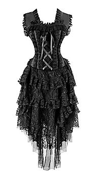 Kimring Women's Vintage Saloon Girl Corset Dress