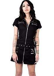 Pretty Attitude Womens Black Goth Mini Dress with Buckles and Lacing – Size US 8