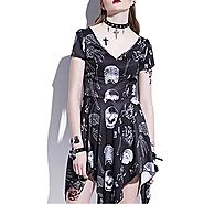 Jessieco Gothic Asymmetrical Dress Skeleton Bone Print