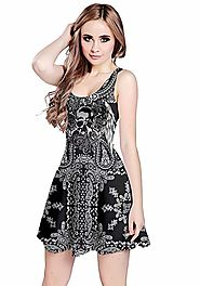 CowCow Womens Grunge Skulls Skeleton Gothic Dark Sleeveless Dress, XS-5XL