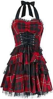 Red Tartan Gothic Dress | H&R London Short dress | EMP