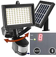 Robust Solar 80 LED Outdoor Solar Motion Light, Digitally Adjustable Time & LUX, 2-axis Adjustable Motion Sensor with...