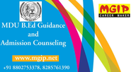 Gather information on MDU B.Ed guidance and counseling in Delhi