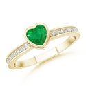 Heart Emerald and Round Diamond Ring