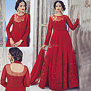 High Collared Embroidered Anarkali Salwar Suit Online Shopping