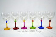 Italian Hand Painted Multicolor Fun Wine Glass - Set Of 6 Glasses Free Ship. GS111-ITE
