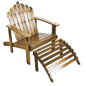 Natural Adirondack Chair with Ottoman--Outdoor Living-Patio Furniture-Adirondack