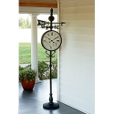 Weather Vane Clock with Temperature & Humidity Gauges- Garden Oasis-Outdoor Living-Weather Instruments-Thermometers