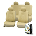 FH-PU007114 Deluxe Leatherette Car Seat Covers Airbag Ready and Split Bench Beige color