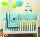 Pam Grace Creations Zigzag 10 Piece Baby Crib Bedding Set, Teal/Lime