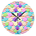 Colorful Seashell Wall Clock for the Bathroom
