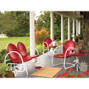 Retro Steel Clam Chair - Red- Essential Garden-Outdoor Living-Patio Furniture-Chairs