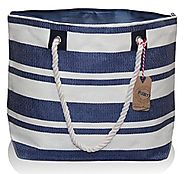 "Large Zipper Top Stripe Straw Look Beach Bag Tote - 20""x15""x6"""