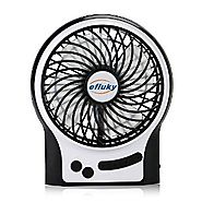 efluky 4.5 Inch Mini USB Rechargeable Fan 3 Speeds with Blue Decorative Light and LED Light Portable Table Fan Coolin...