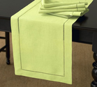 Handmade Basic Hemstitch Table Runner, Lime Green