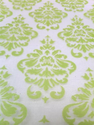 Velvet Damask on Organza Table Runner Lime Green