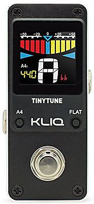 KLIQ TinyTune Tuner Pedal for Guitar and Bass - Mini - Chromatic - with Pitch Calibration and Flat Tuning (Power Supp...