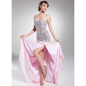 [US$ 186.99] A-Line/Princess Sweetheart Sweep Train Chiffon Prom Dress With Beading Sequins (018014715)
