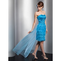 [US$ 139.99] Sheath Sweetheart Asymmetrical Satin Tulle Feather Prom Dress With Beading Sequins (018014760)
