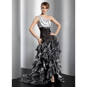[US$ 176.99] A-Line/Princess One-Shoulder Asymmetrical Organza Prom Dress With Ruffle Beading (018014771)