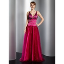 [US$ 142.99] A-Line/Princess V-neck Floor-Length Satin Tulle Prom Dress With Beading (018014778)