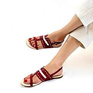 b16508183 Buy Roxanne Maroon And White Flat Sandals Online at Best Price From PAIO  Shoes