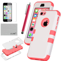 Pandamimi UlAK(TM) Colorful Heavy Duty Hybrid Rugged Hard Case Cover For Apple iPhone 5C with Screen Protector and St...