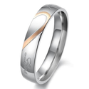 "Women - Size 7 - KONOV Jewelry Mens Womens Hearte Stainless Steel Promise Ring ""Real Love"" Couples Wedding Bands"