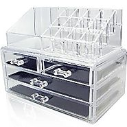 Unique Home Acrylic Jewelry and Cosmetic Organizer, Clear, Medium, 2 Piece