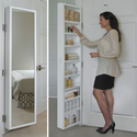 Cabidor® Classic Deluxe Behind Door Storage Cabinet | Hinge-Mounted | Full Length Mirror