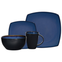 Gibson Soho Lounge Square 16-Piece Dinnerware Set, Service for 4