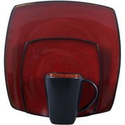 Soho Lounge Square 16-piece Dinnerware Set, Red