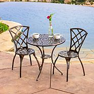 Traditional Bistro Set 3 Pc Aluminum Patio Garden Cafe Furniture Balcony Table