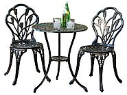 Outdoor Patio Furniture Table Chairs Bistro Set 3Pc Dining Garden Round Cast New