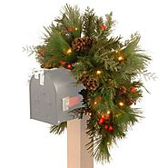 National Tree 36 Inch Decorative Collection White Pine Mailbox Swag with 63 Battery Operated Soft White and Red LED L...