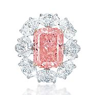 A Fancy Vivid Pink rectangular-cut diamond, 5.18 carats; Sold for $10,709,443 in 2015