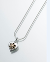 Sterling Silver Heart Pendant with 14k Star of David Insert Cremation Pendant- Attractive Black Velvet Gift Box