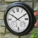 Metal Clock with Temperature & Humidity Gauge- Garden Oasis-Outdoor Living-Weather Instruments-Thermometers