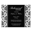 Black and White Damask Rehearsal Dinner Card