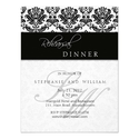 Black Damask Monogram Rehearsal Dinner Card