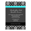 Turquoise Damask Monogram Wedding Invitation