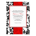 Black and Red Damask Wedding Invitation