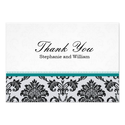 Damask Teal Wedding Thank You Card